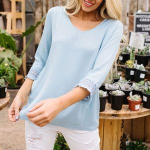 Dash of Pink Tops - Just in Case Lace Blouse in Blue